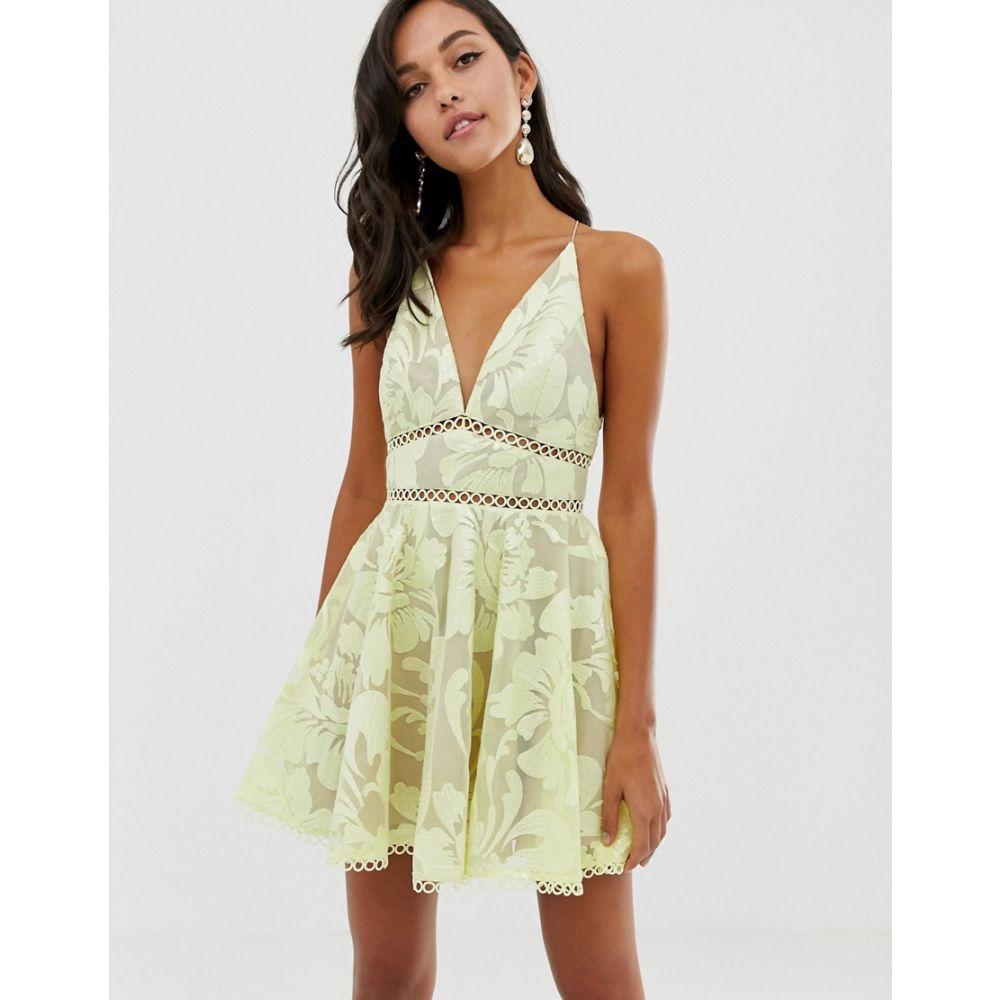 エイソス ASOS DESIGN レディース ワンピース・ドレス ワンピース【cami prom midi dress with sequin embellishment】Soft yellow