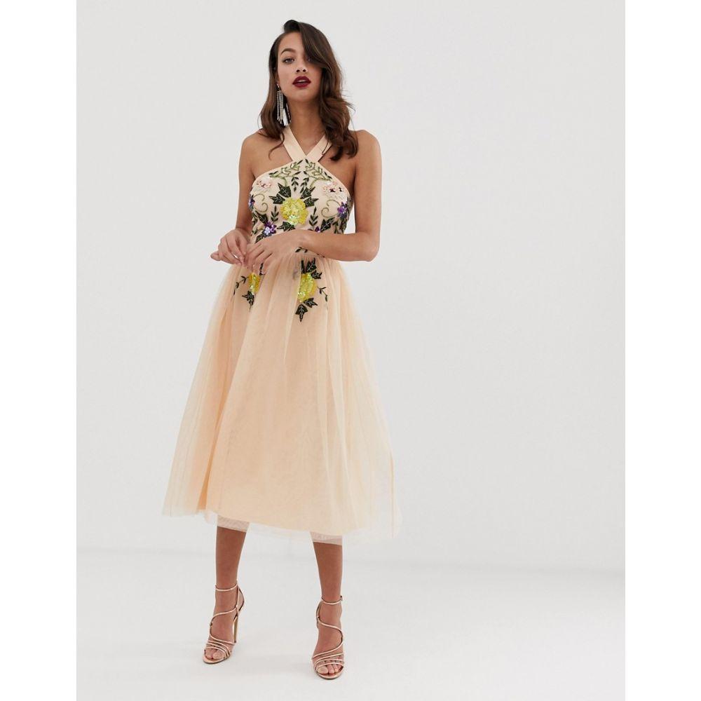 エイソス ASOS DESIGN レディース ワンピース・ドレス ワンピース【embellished halter midi dress with floral embroidery】Blush