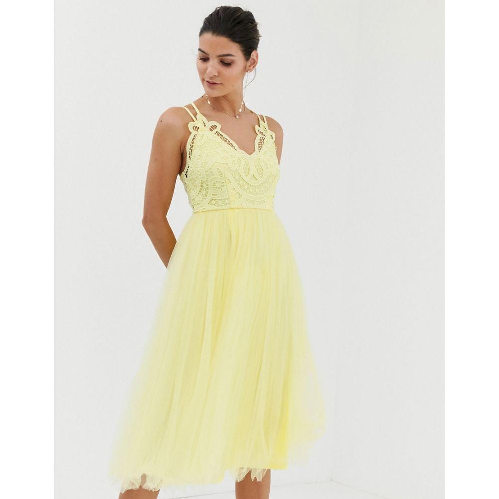エイソス ASOS DESIGN レディース ワンピース・ドレス ワンピース【Premium lace top tulle cami midi dress】Yellow