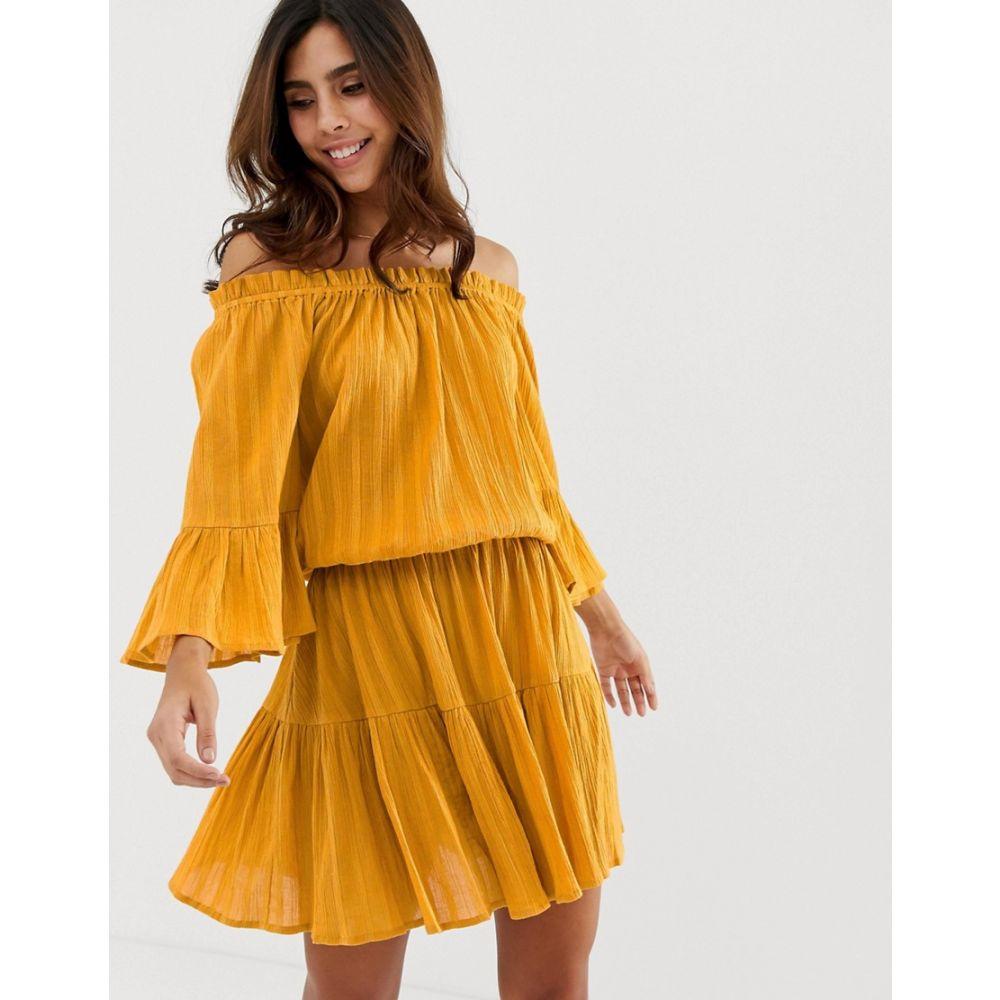 エイソス ASOS DESIGN レディース ワンピース・ドレス ワンピース【off shoulder tiered mini sundress】Mustard