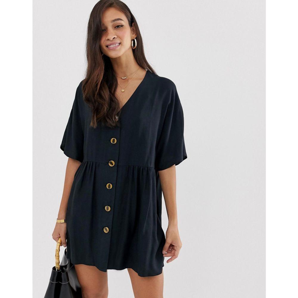 エイソス ASOS DESIGN レディース ワンピース・ドレス ワンピース【v neck button through mini smock dress】Black