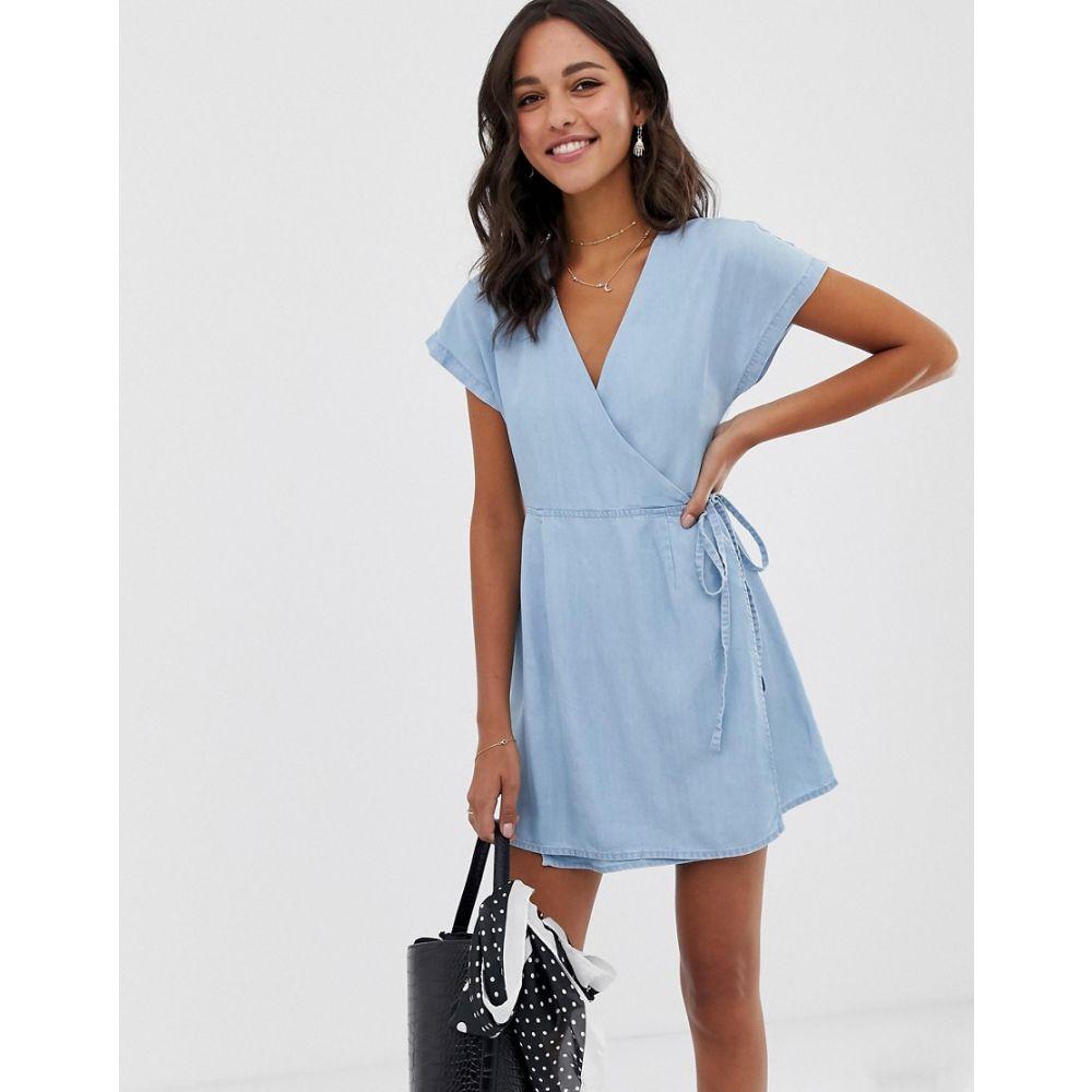 エイソス ASOS DESIGN レディース ワンピース・ドレス ワンピース【wrap dress in lightwash blue】Lightwash blue
