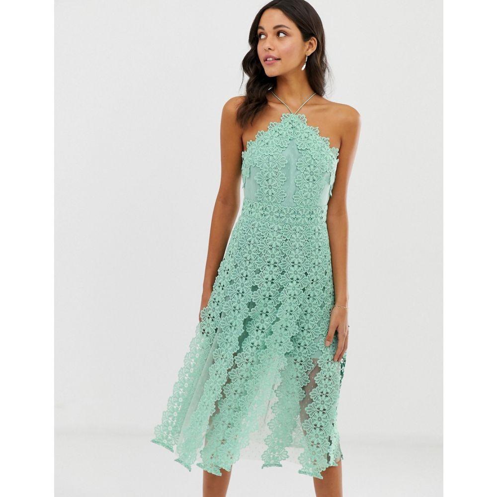 エイソス ASOS DESIGN レディース ワンピース・ドレス ワンピース【midi dress with pinny bodice with cutwork skirt detail】Mint