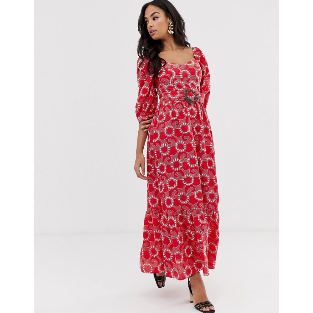 エイソス ASOS DESIGN レディース ワンピース・ドレス ワンピース【sweetheart broderie maxi dress with puff sleeves and belt】Red