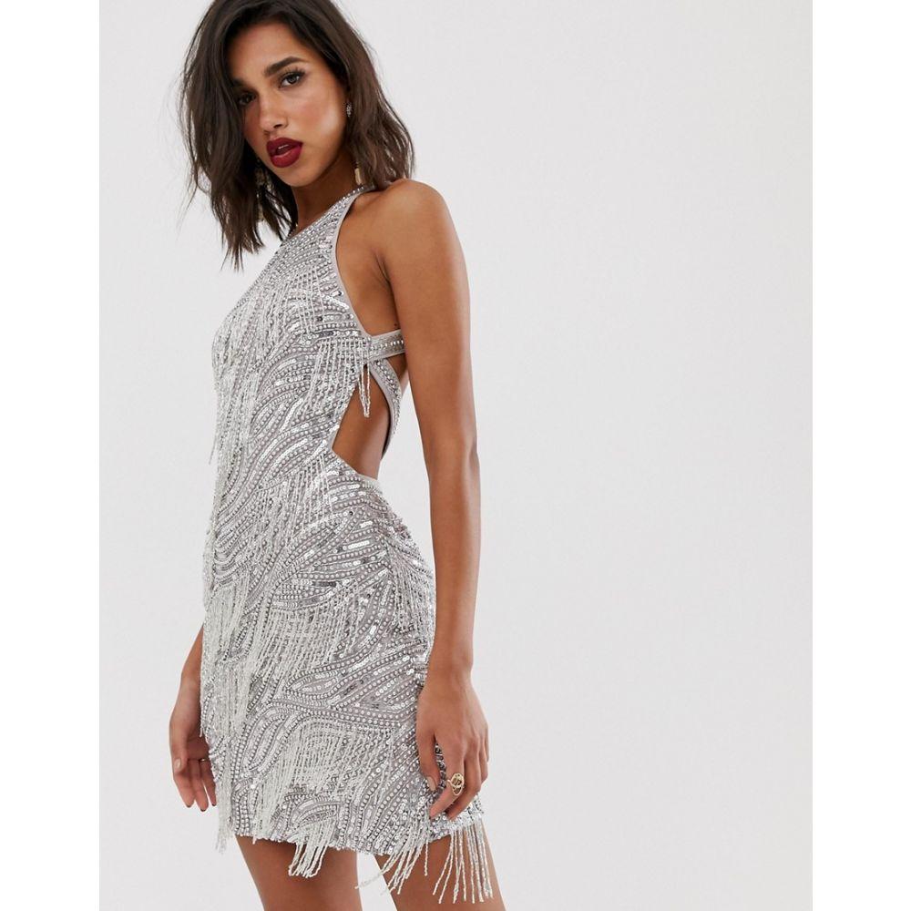 エイソス ASOS EDITION レディース ワンピース・ドレス ワンピース【sequin fringe cutout mini dress】Silver