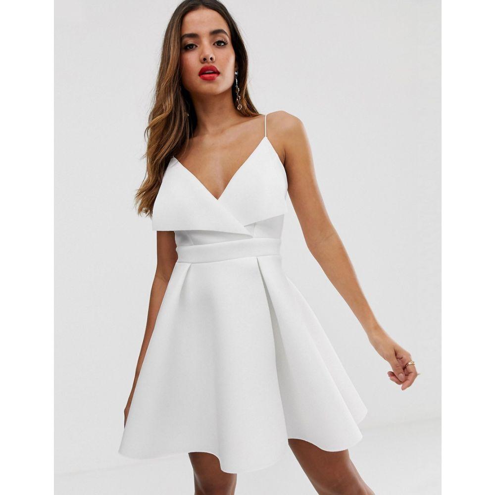 エイソス ASOS DESIGN レディース ワンピース・ドレス ワンピース【fold front scuba skater mini dress】White