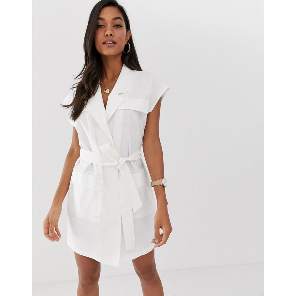 エイソス ASOS DESIGN レディース ワンピース・ドレス ワンピース【sleeveless utility mini dress with belt in linen】White