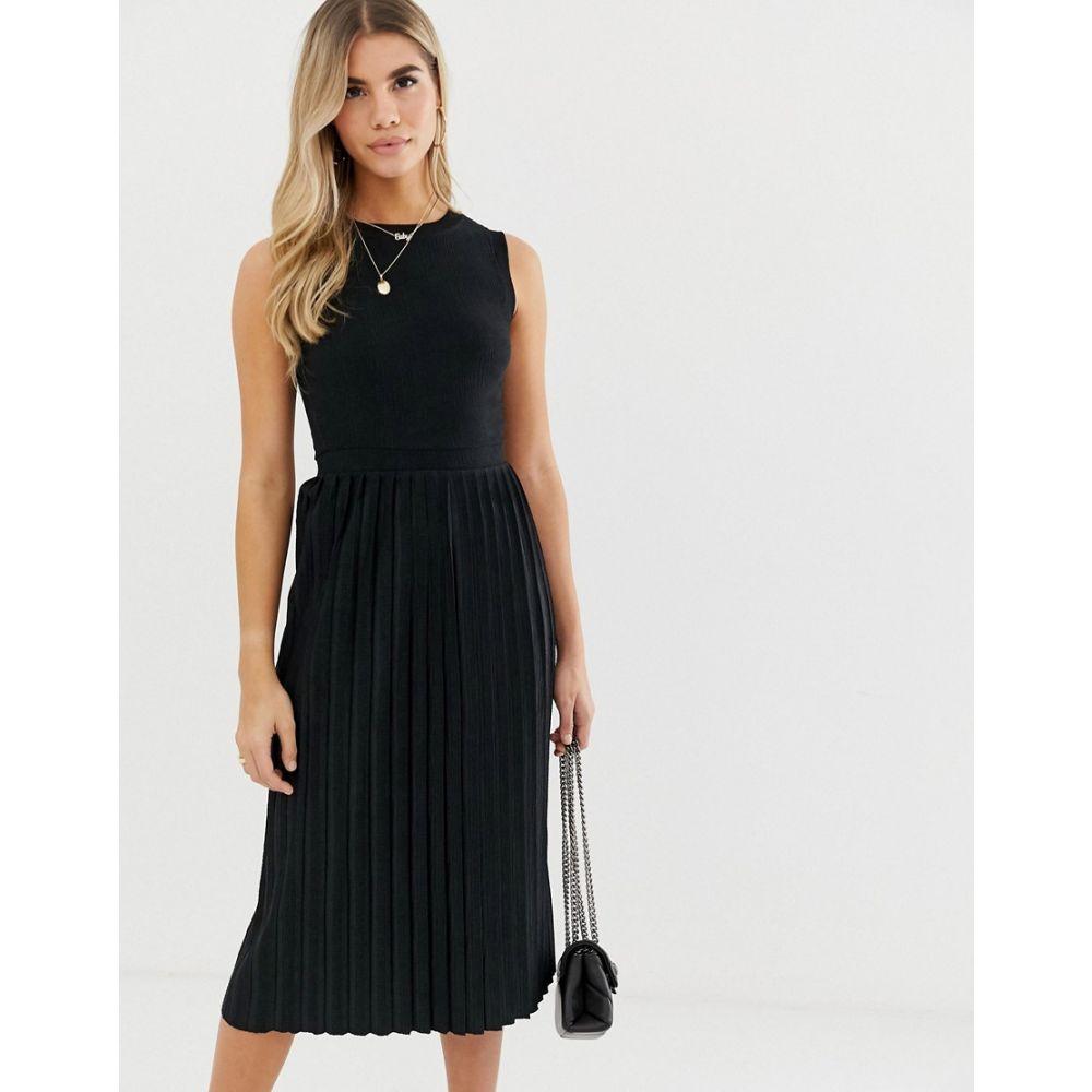 エイソス ASOS DESIGN レディース ワンピース・ドレス ワンピース【textured midi dress with pleated skirt】Black