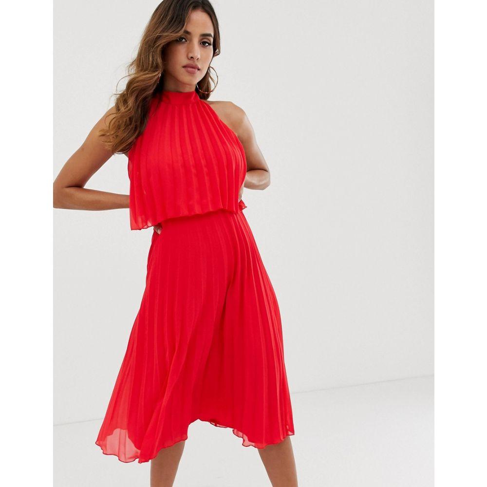 エイソス ASOS DESIGN レディース ワンピース・ドレス ワンピース【halter tie neck midi dress in pleat】Bright red
