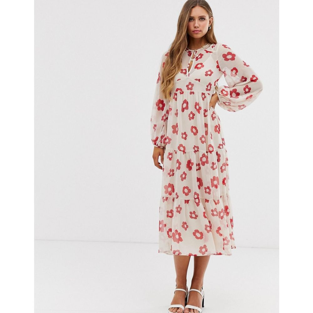 エイソス ASOS DESIGN レディース ワンピース・ドレス ワンピース【tiered long sleeve smock maxi dress in floral print】Light based floral