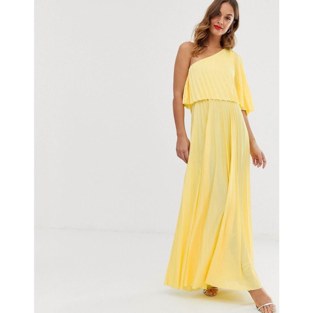 エイソス ASOS DESIGN レディース ワンピース・ドレス ワンピース【one shoulder pleated crop top maxi dress】Yellow