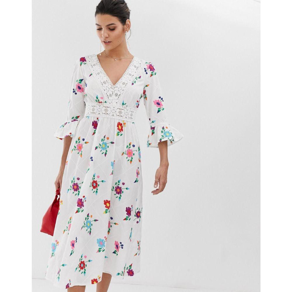エイソス ASOS DESIGN レディース ワンピース・ドレス ワンピース【lattice back embroidered midi dress with fluted sleeve】White