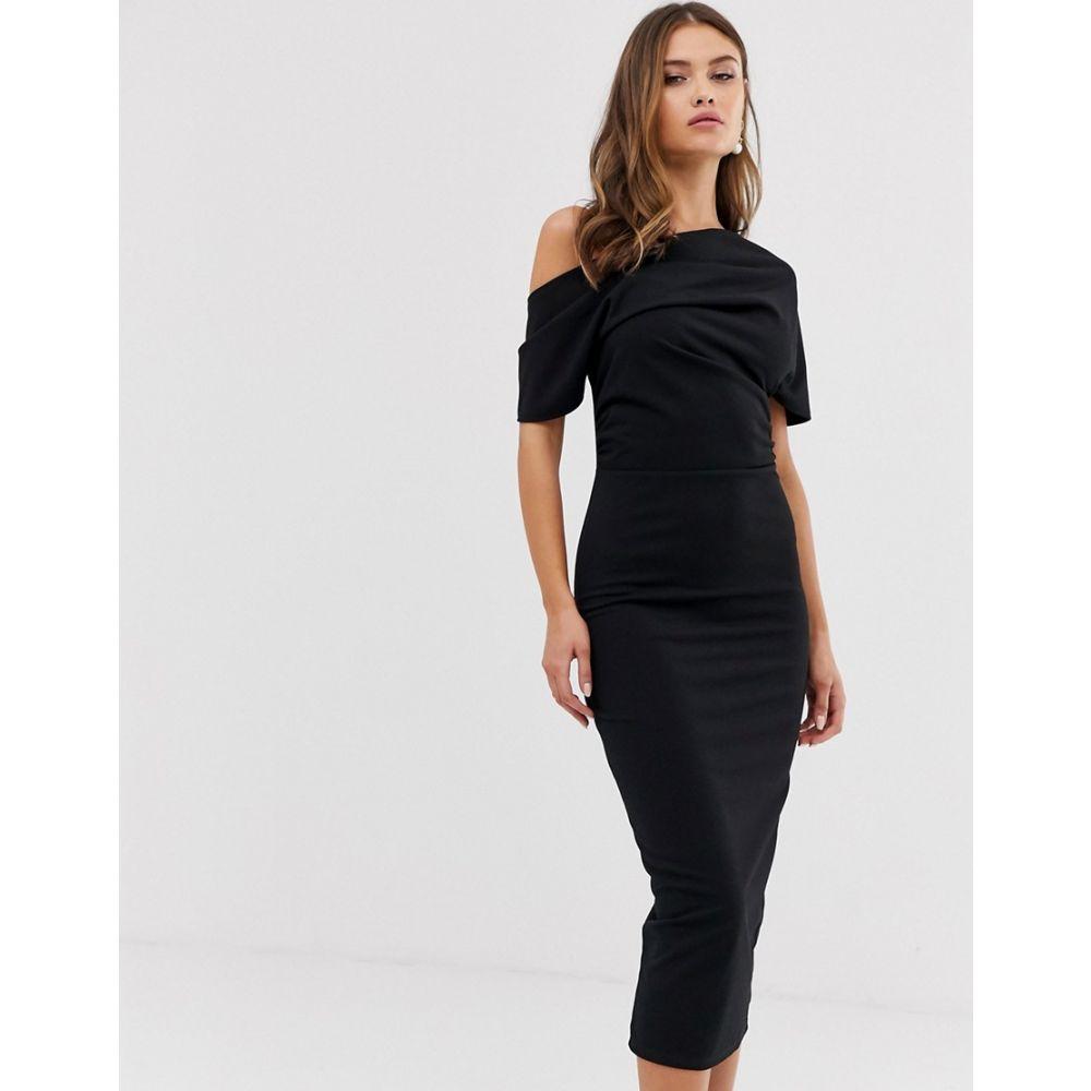 エイソス ASOS DESIGN レディース ワンピース・ドレス ワンピース【pleated shoulder pencil dress】Black