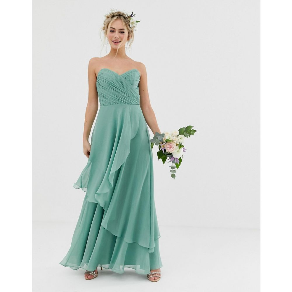 エイソス ASOS DESIGN レディース ワンピース・ドレス ワンピース【Bridesmaid bandeau maxi dress with soft layer skirt】Sage green
