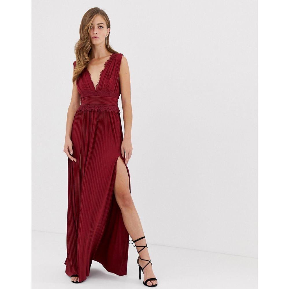 エイソス ASOS DESIGN レディース ワンピース・ドレス ワンピース【Premium Lace Insert Pleated Maxi Dress】Oxblood