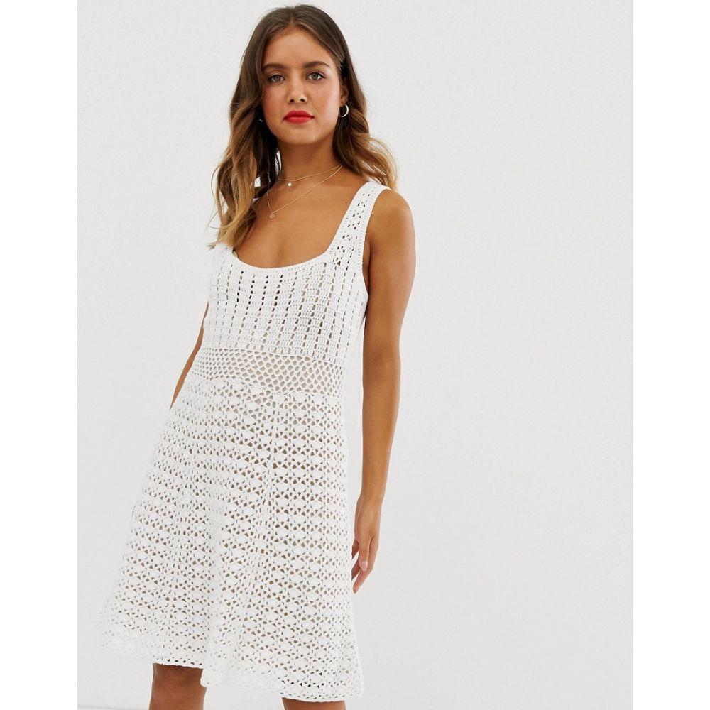 エイソス ASOS DESIGN レディース ワンピース・ドレス ワンピース【premium hand crochet dress with square neck】Cream