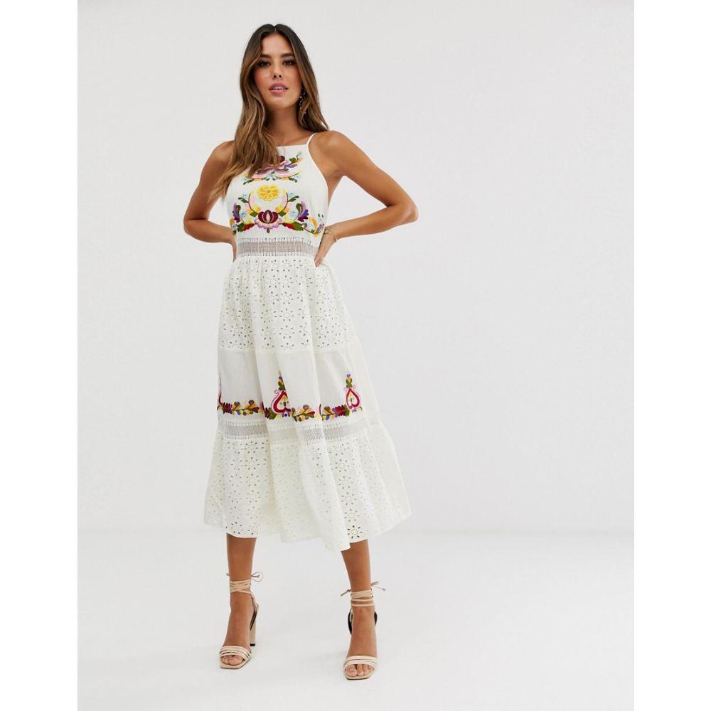 エイソス ASOS DESIGN レディース ワンピース・ドレス ワンピース【square neck tiered midi dress with lace and embroidery】White