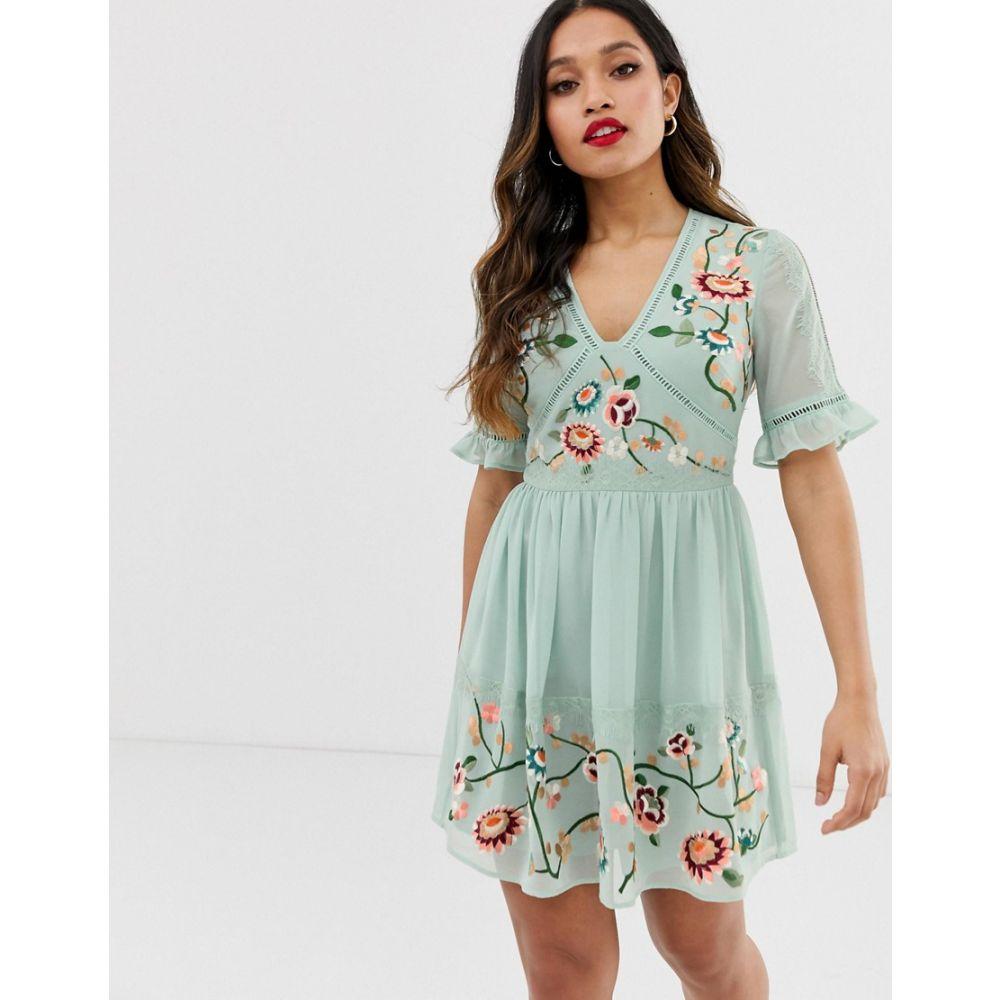 エイソス ASOS Petite レディース ワンピース・ドレス ワンピース【ASOS DESIGN Petite embroidered mini dress with lace trims】Sage green