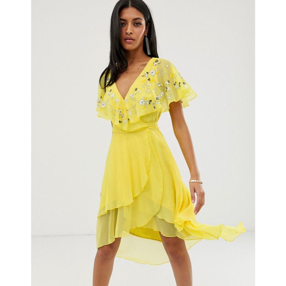 エイソス ASOS DESIGN レディース ワンピース・ドレス ワンピース【midi dress with cape back and dipped hem in embellishment】Lemon