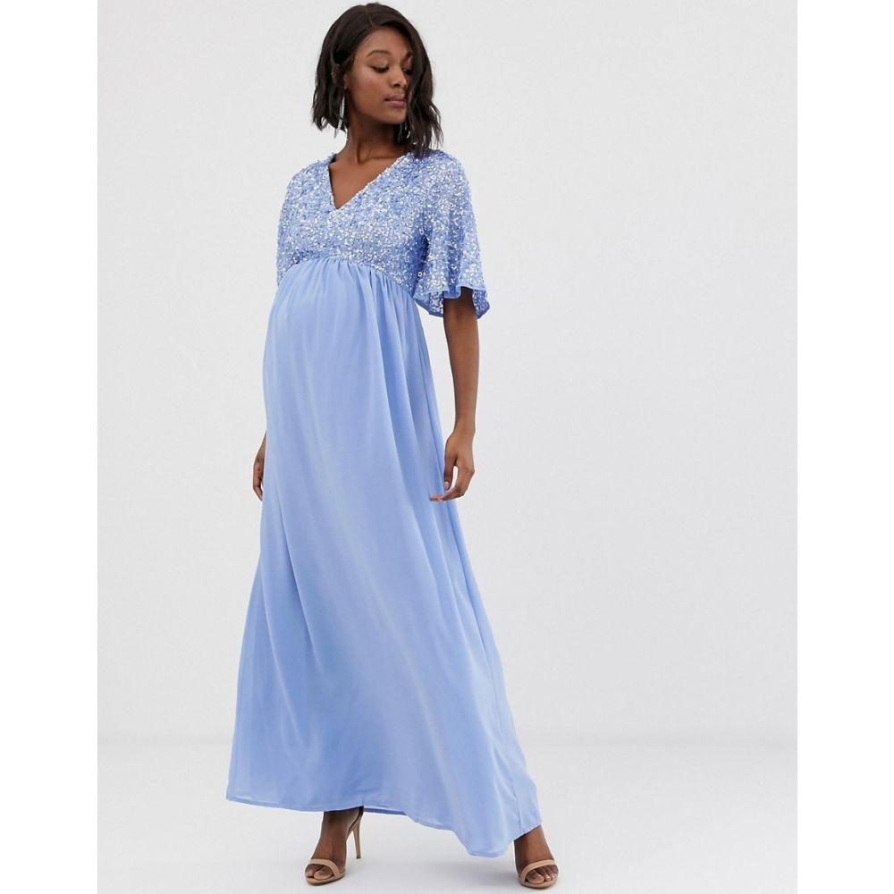 マヤ マタニティ Maya Maternity レディース ワンピース・ドレス ワンピース【sequin top maxi dress with flutter sleeve detail in bluebell】Bluebell