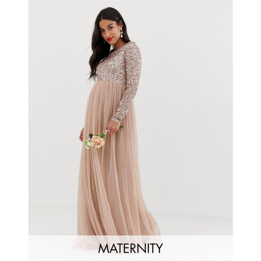 マヤ マタニティ Maya Maternity レディース ワンピース・ドレス ワンピース【Bridesmaid long sleeved maxi dress with delicate sequin and tulle skirt in taupe blush】Taupe blush
