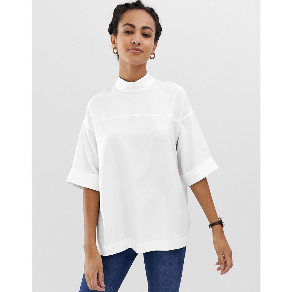 エイソス ASOS DESIGN レディース トップス【oversized minimal top】White