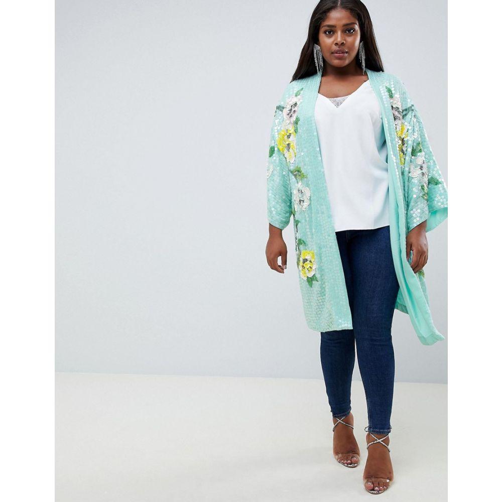エイソス ASOS Curve レディース トップス【ASOS DESIGN Curve embellished floral kimono jacket】Multi