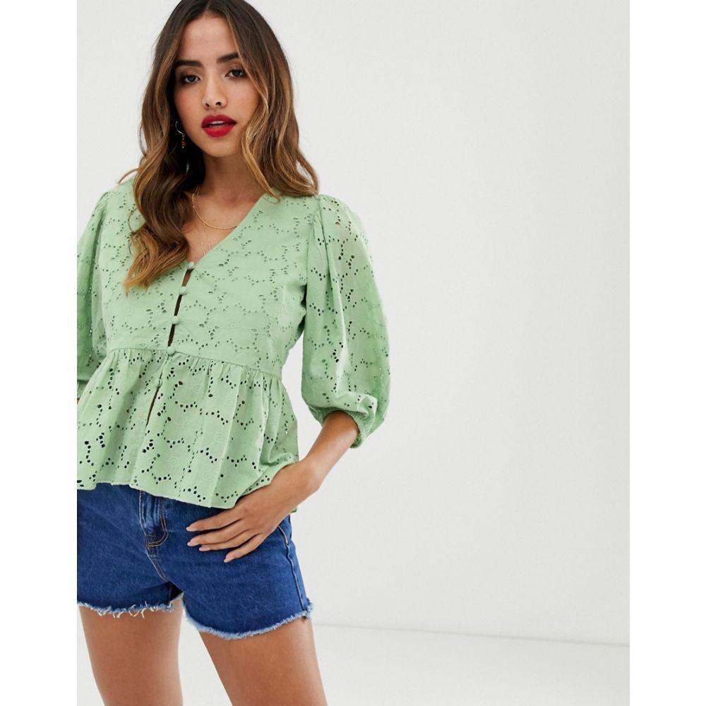 エイソス ASOS DESIGN レディース トップス ブラウス・シャツ【tea blouse in broderie with volume sleeve】Green