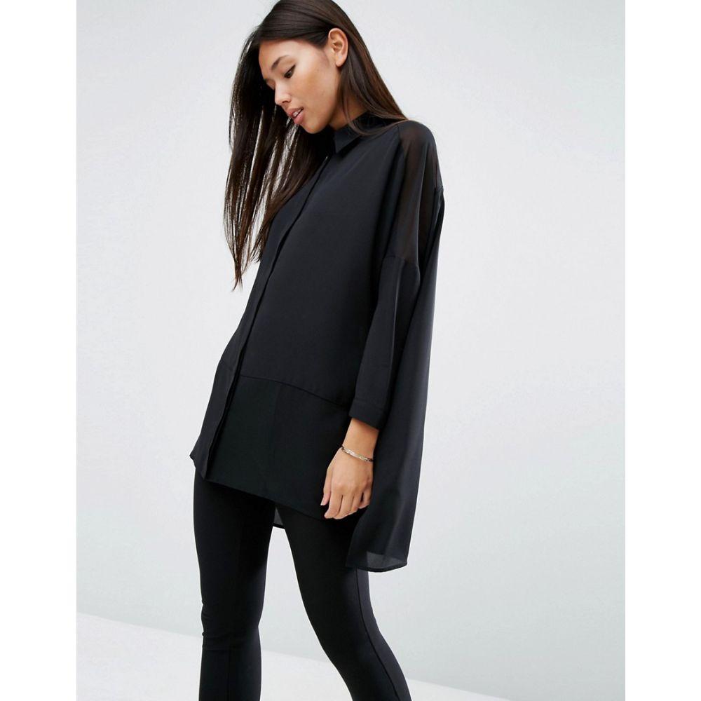 エイソス ASOS DESIGN レディース トップス ブラウス・シャツ【soft long sleeve shirt in sheer and solid】Black