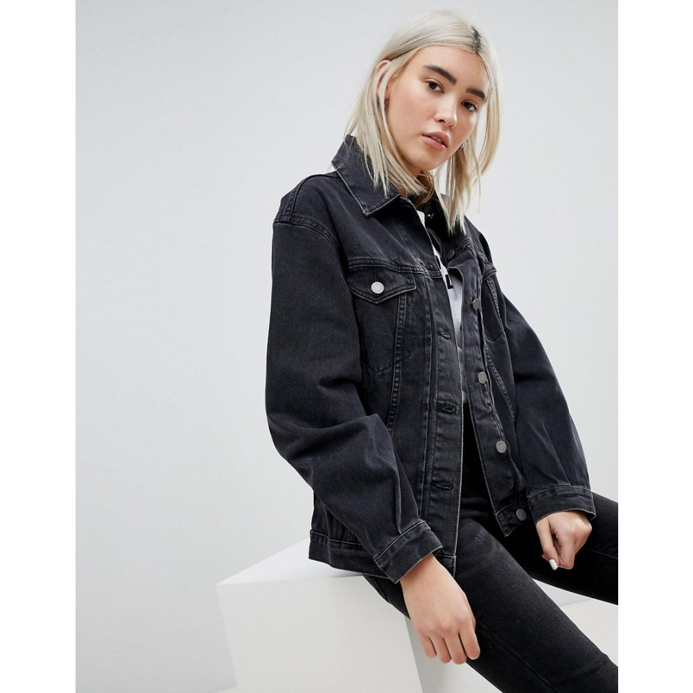 エイソス レディース アウター ジャケット【DESIGN denim girlfriend jacket in washed black】Washed black