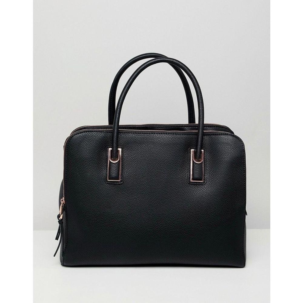 エイソス ASOS DESIGN レディース バッグ トートバッグ【rose gold zipped compartment tote bag with detachable strap】Black
