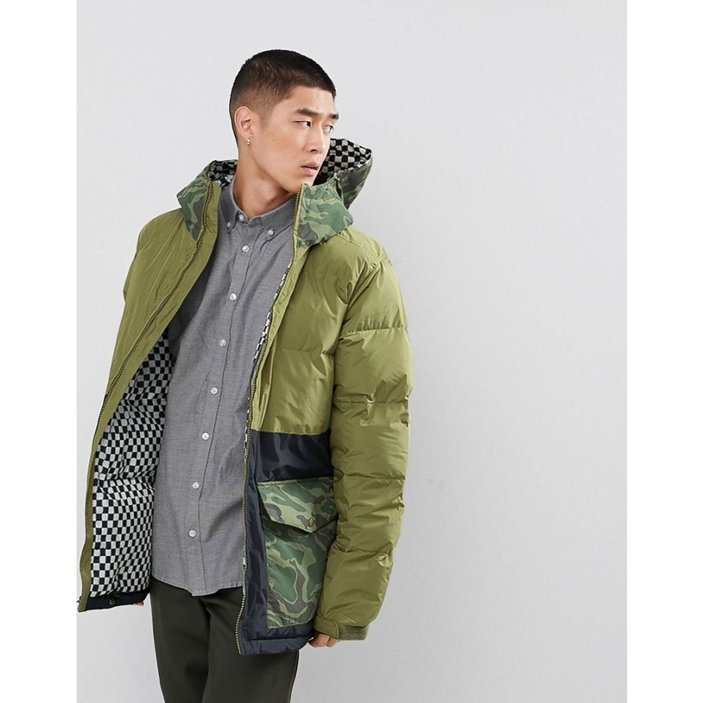 アナログ メンズ アウター ダウン・中綿ジャケット【Analog Kilroy Ski Puffer Jacket Hooded Mixed Camo Print in Green】Olve brnch/grn camo
