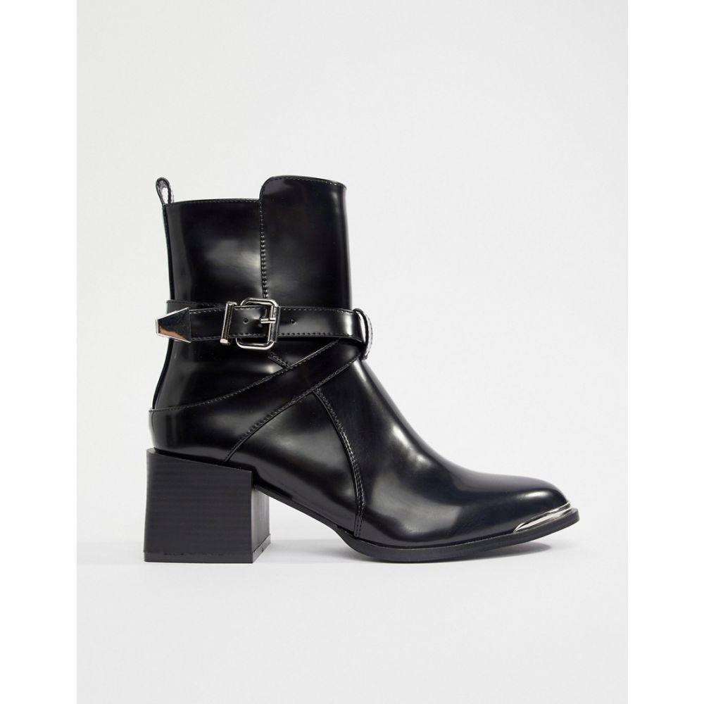 レイド Raid レディース シューズ・靴 ブーツ【RAID Poppy Black Western Detail Ankle Boots】Black patent