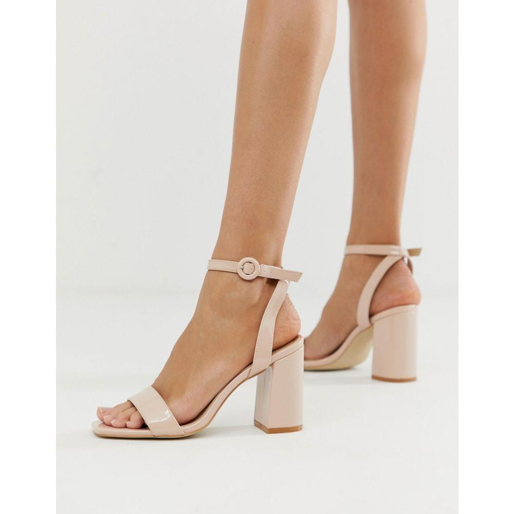 レイド Raid レディース シューズ・靴 サンダル・ミュール【RAID Wink blush patent square toe block heeled sandals】Blush patent