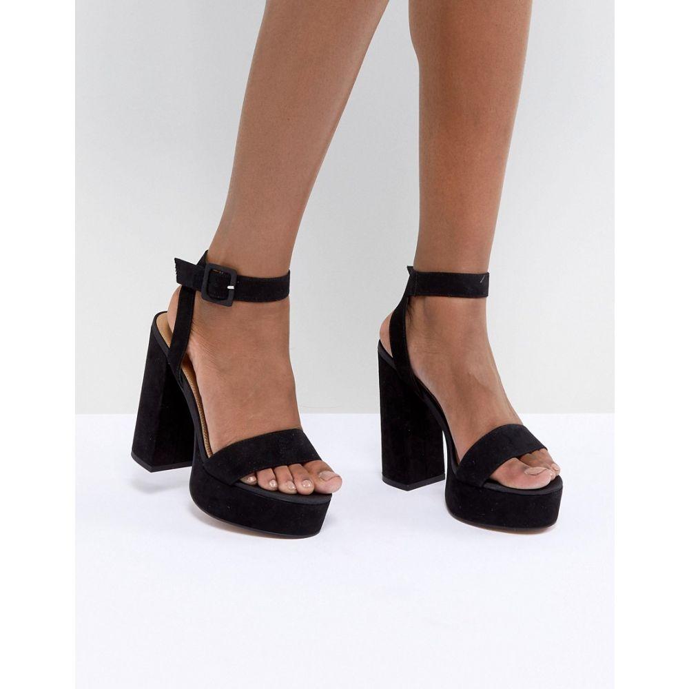 エイソス ASOS DESIGN レディース シューズ・靴 サンダル・ミュール【Hostess Platform Heeled Sandals】Black