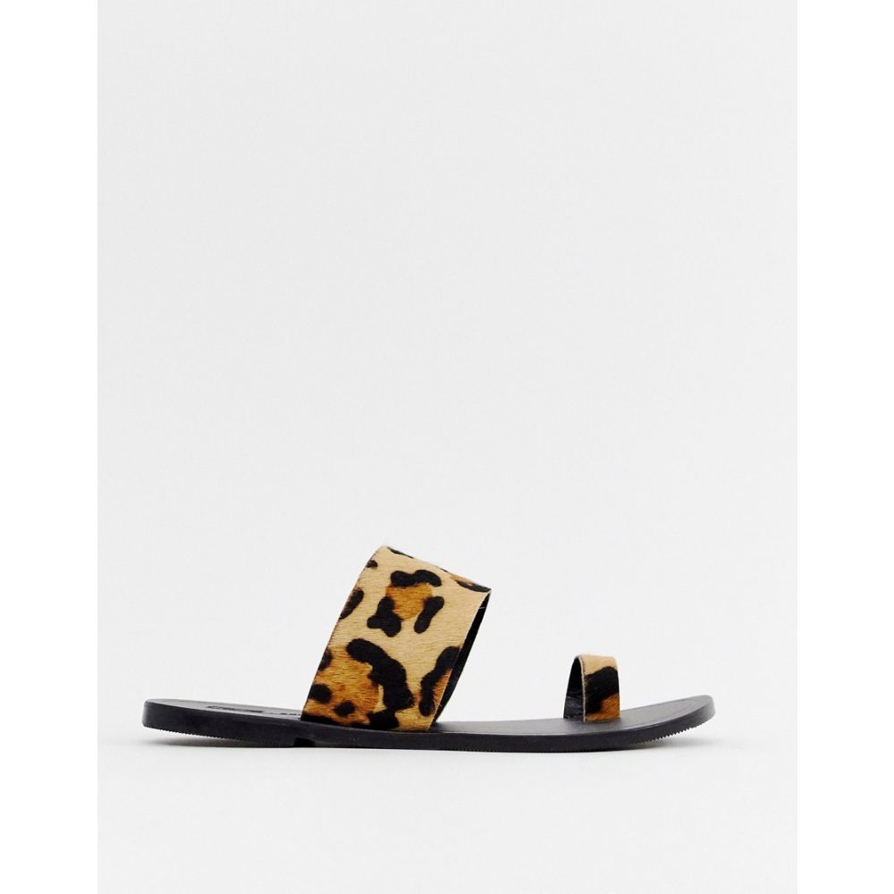 エイソス ASOS DESIGN レディース シューズ・靴 サンダル・ミュール【Faro leather toe loop flat sandals in leopard】Leopard