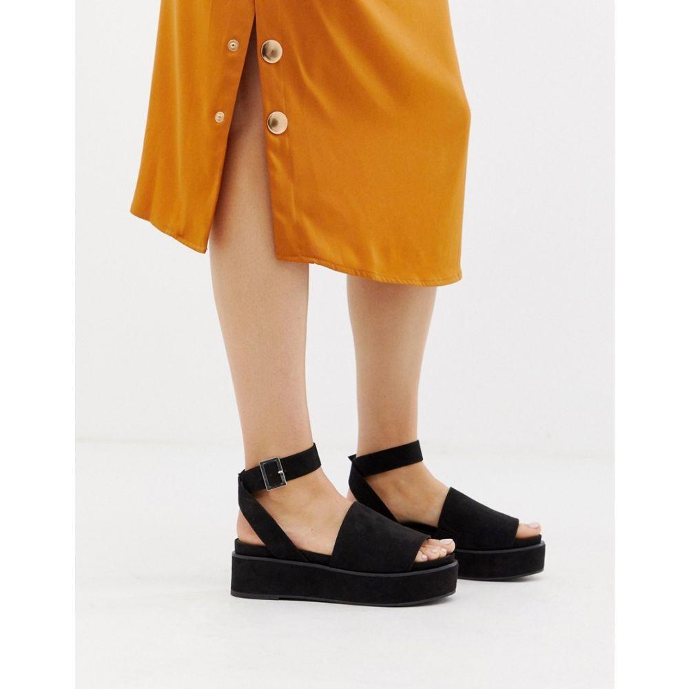 エイソス ASOS DESIGN レディース シューズ・靴 サンダル・ミュール【Taylor flatform sandals】Black
