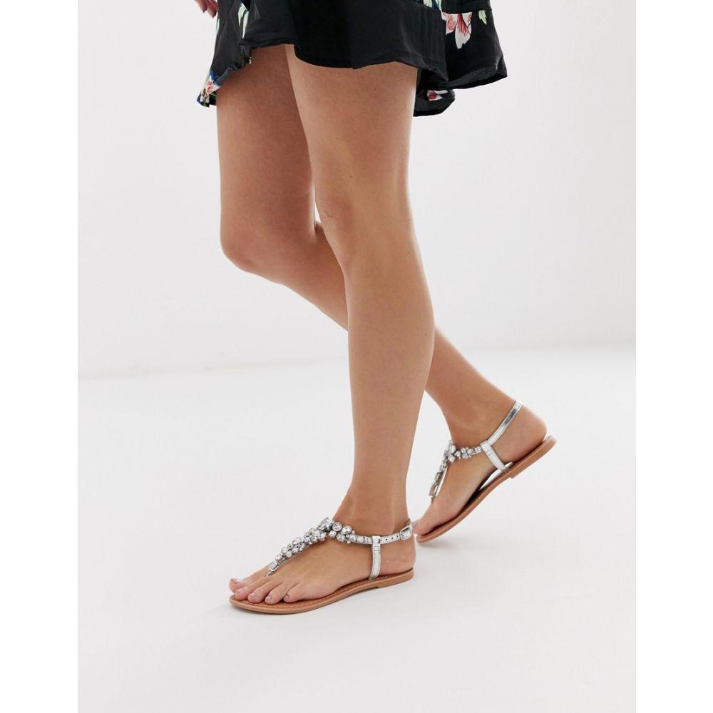 エイソス ASOS DESIGN レディース シューズ・靴 サンダル・ミュール【Fairgame leather embellished flat sandals】Silver