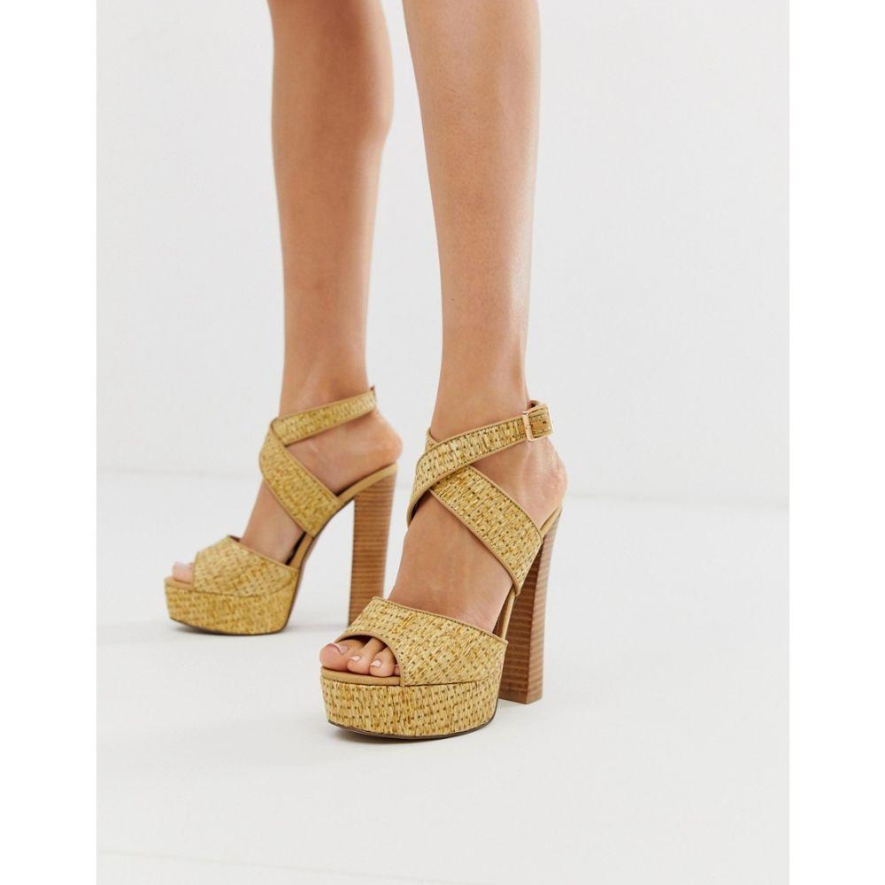 エイソス ASOS DESIGN レディース シューズ・靴 サンダル・ミュール【Hutchinson platform block heeled sandals】Natural weave