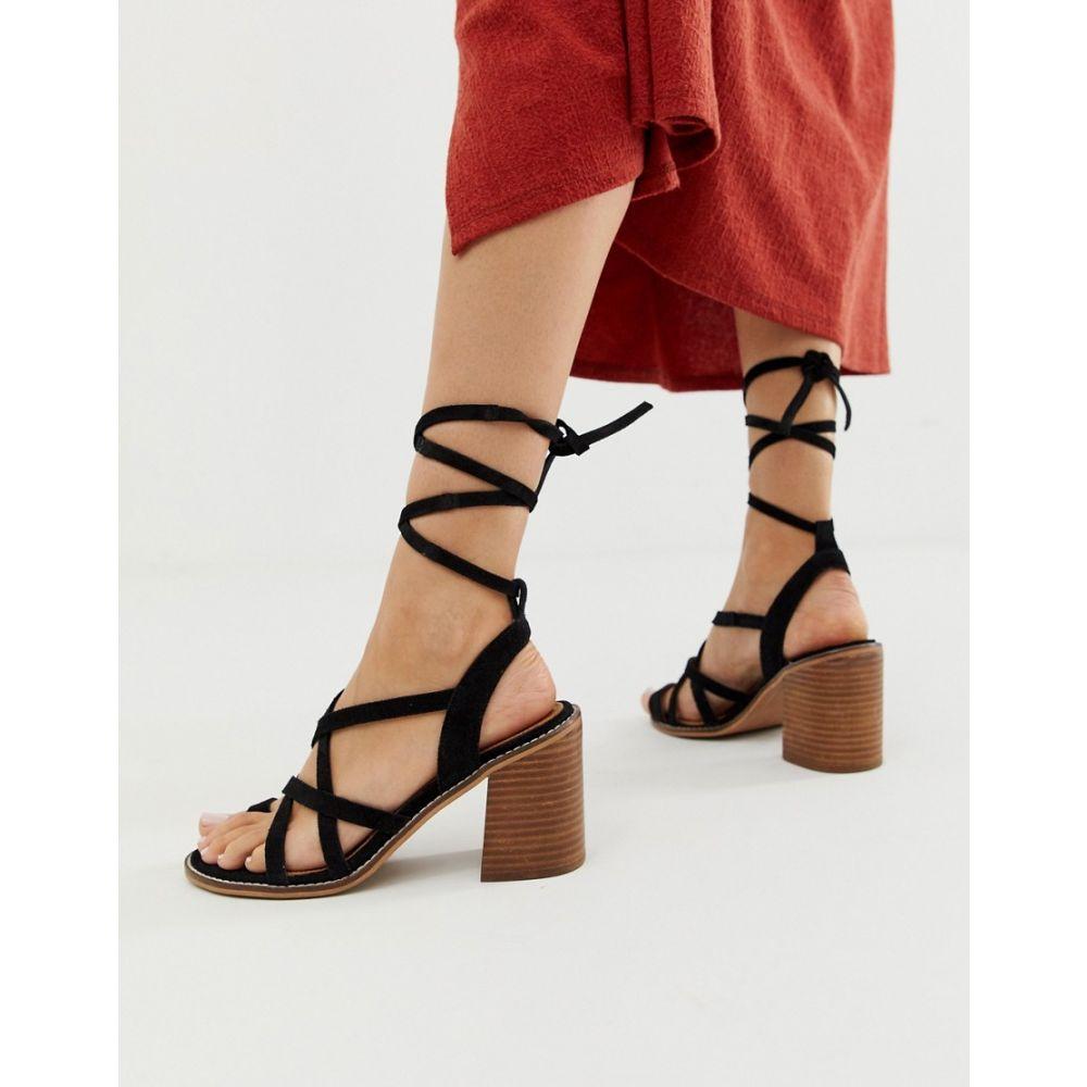 エイソス ASOS DESIGN レディース シューズ・靴 サンダル・ミュール【Trivia suede tie leg heeled sandal】Black