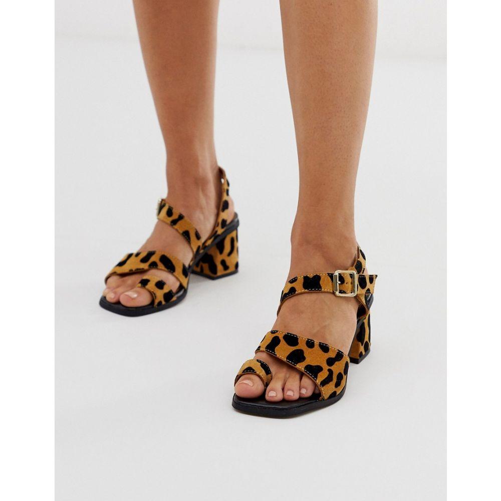エイソス ASOS DESIGN レディース シューズ・靴 サンダル・ミュール【Hickery premium suede toe loop block heeled sandals】Leopard