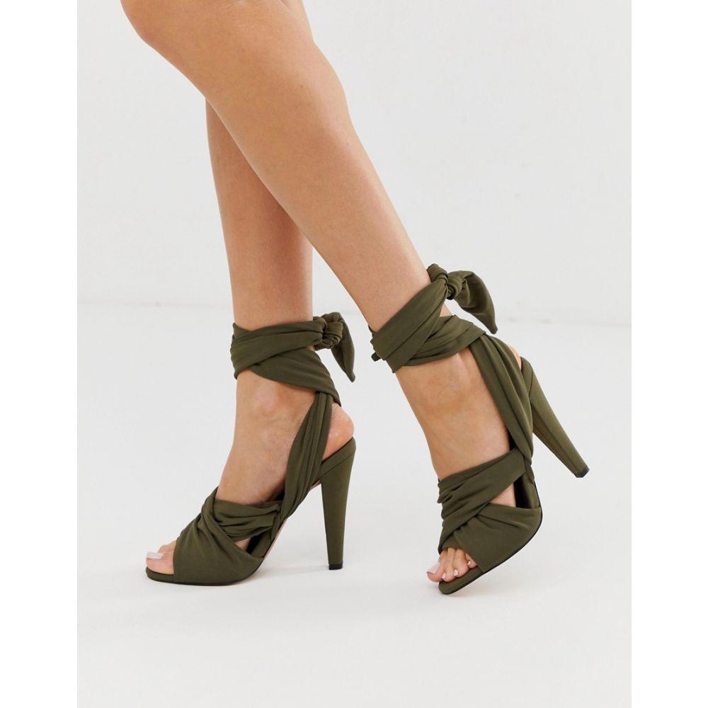エイソス ASOS DESIGN レディース シューズ・靴 サンダル・ミュール【Husky block heeled sandals】Khaki