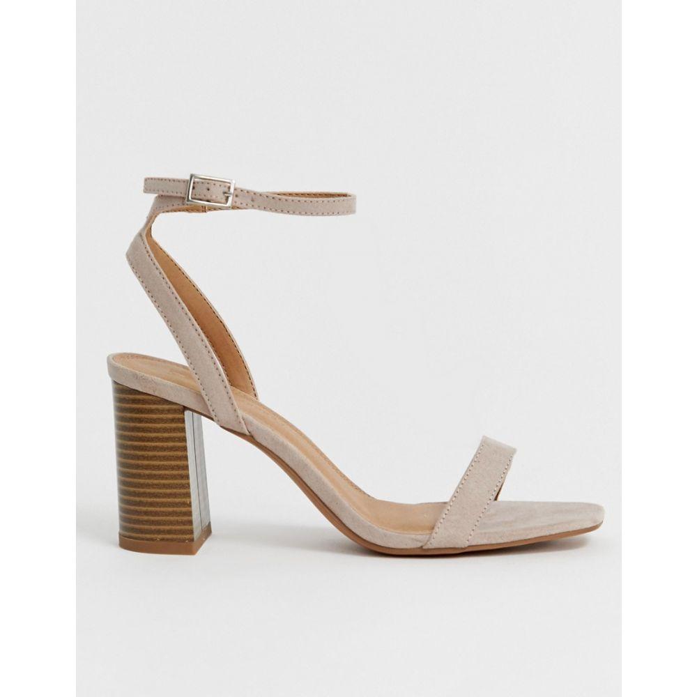 エイソス ASOS DESIGN レディース シューズ・靴 サンダル・ミュール【Hong Kong barely there block heeled sandals】Taupe