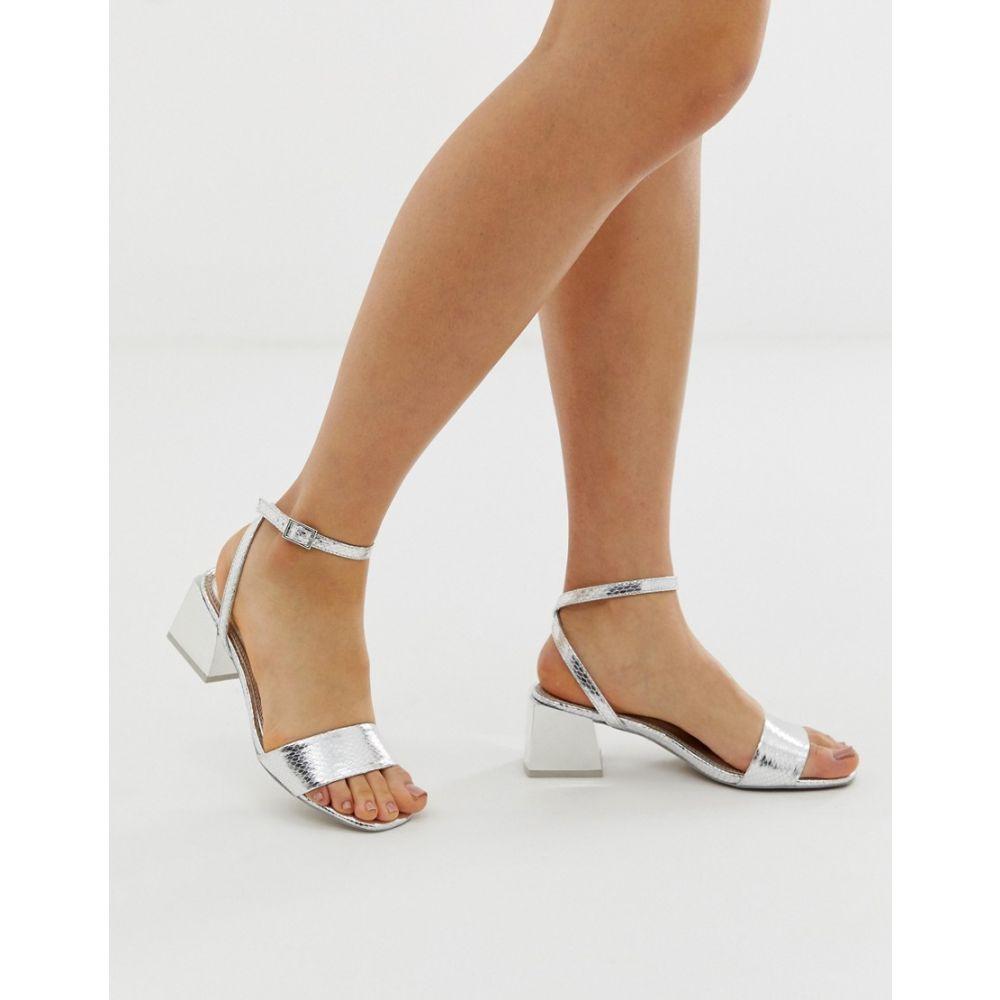 エイソス ASOS DESIGN レディース シューズ・靴 サンダル・ミュール【Honeywell block heeled sandals】Silver