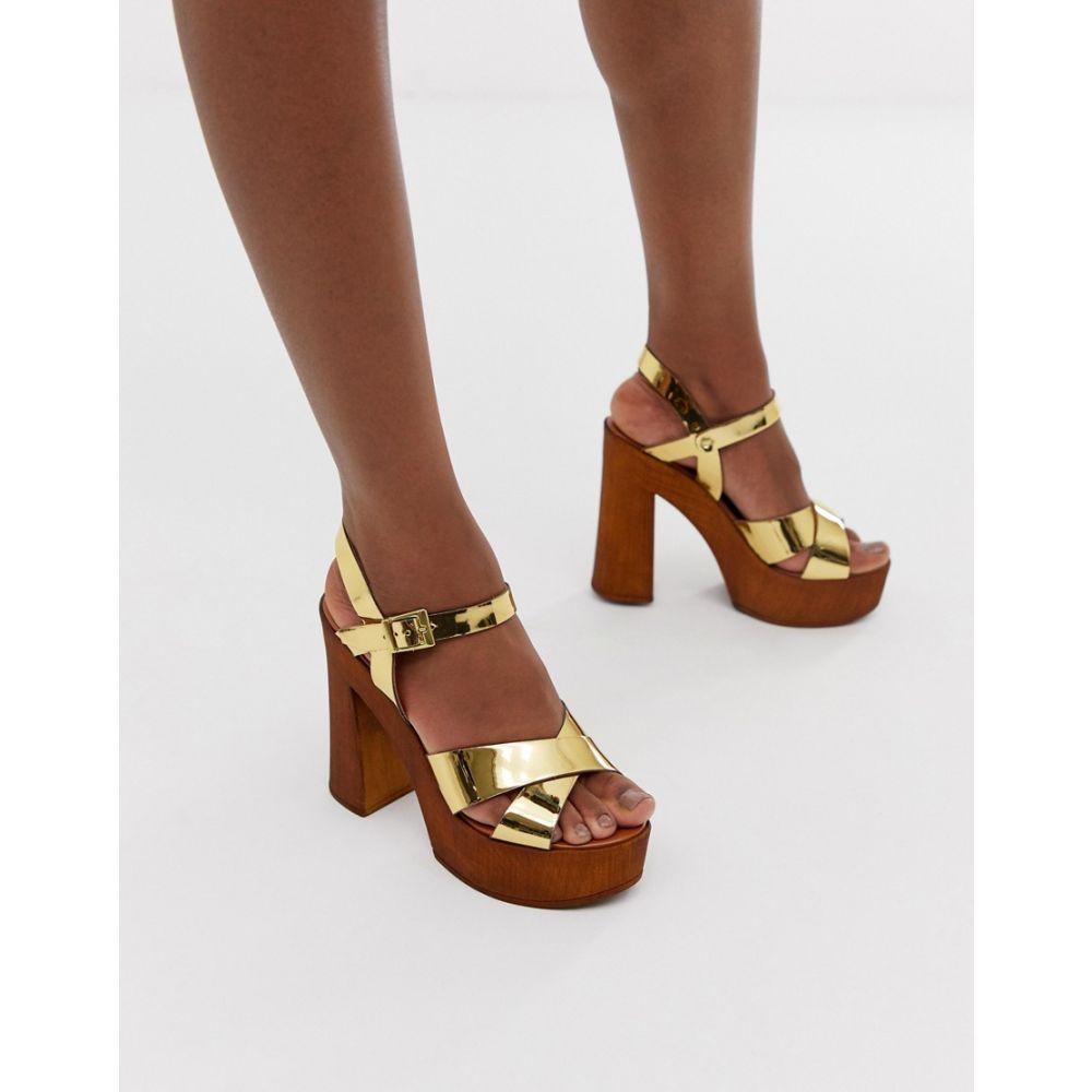 エイソス ASOS DESIGN レディース シューズ・靴 サンダル・ミュール【Translate heeled sandals in gold】Gold