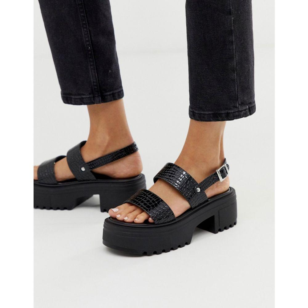 エイソス ASOS DESIGN レディース シューズ・靴 サンダル・ミュール【Finalist chunky flat sandals in black patent croc】Black patent croc