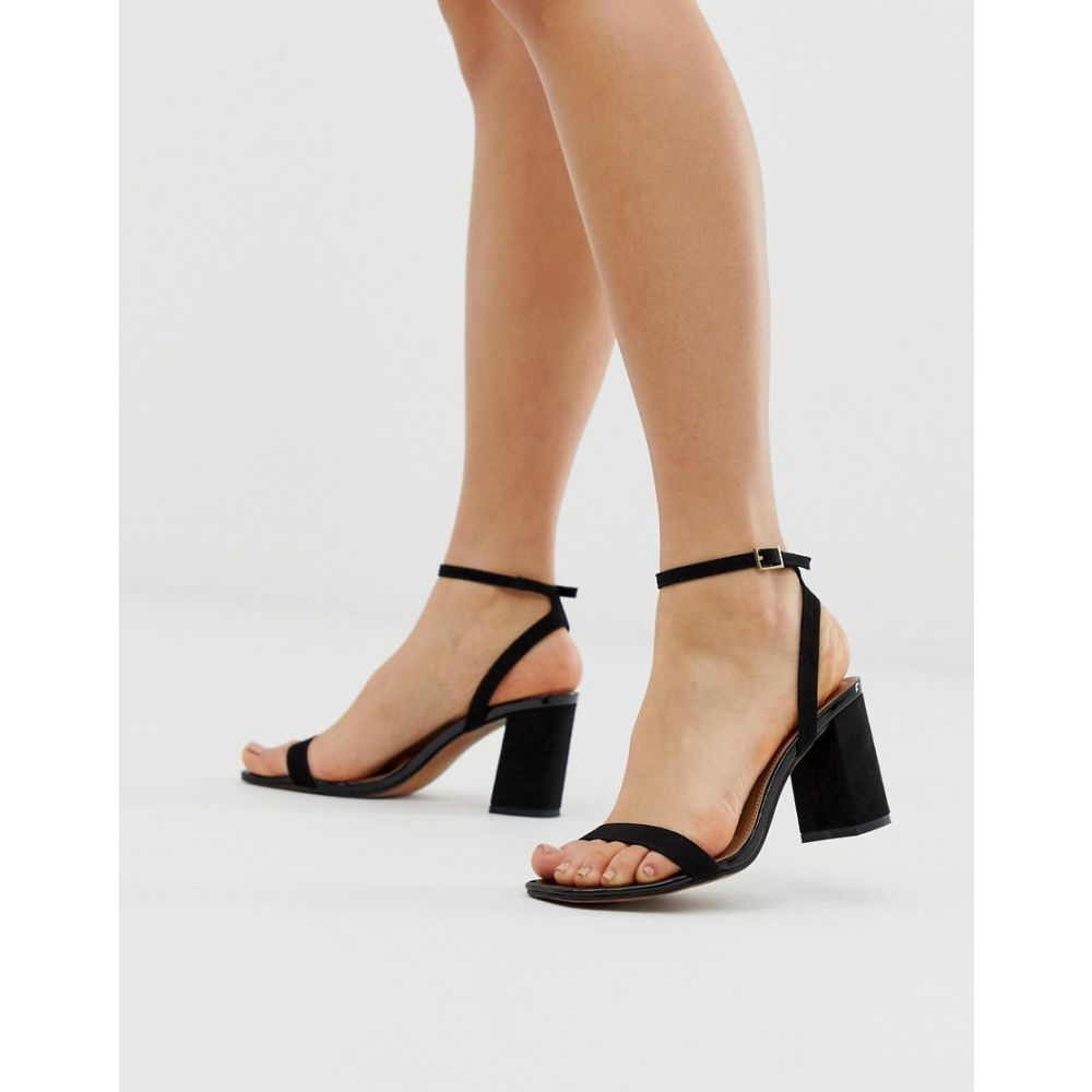 エイソス ASOS DESIGN レディース シューズ・靴 サンダル・ミュール【Hong Kong barely there block heeled sandals in black】Black