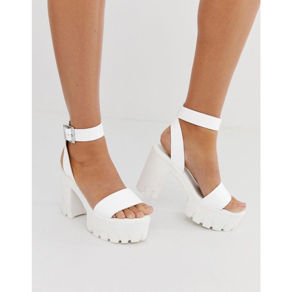 エイソス ASOS DESIGN レディース シューズ・靴 サンダル・ミュール【Noticeable chunky platform heeled sandals in white】White