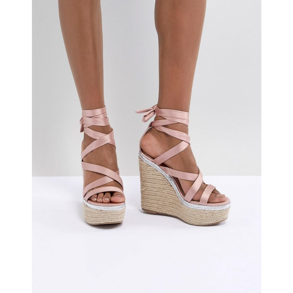 エイソス ASOS DESIGN レディース シューズ・靴【Trophy Tie Leg High Wedges】Blush satin