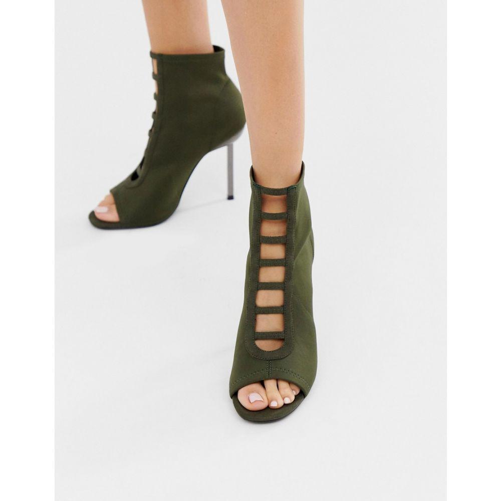 エイソス ASOS DESIGN レディース シューズ・靴 ヒール【Paramount knitted heels】Khaki
